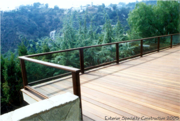 Mangaris Deck with glass railing, Hollywood Hills.