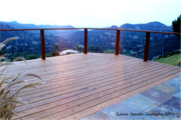 Redwood deck with cable railing