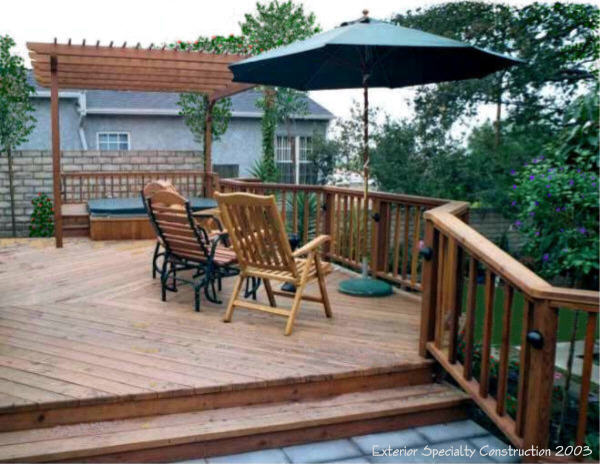 Redwood deck and spa